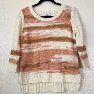 FOREVER 21 | Cream sweater with stripes 3/4 sleeve